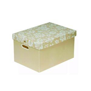 Caixa-Organizadora-Floral-Bege-Pequena---Polycart