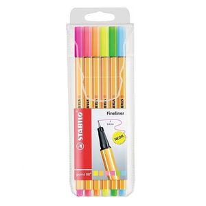 estojo-caneta-point-88-neon-com-6-cores-stabilo