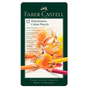 Lapis-de-Cor-Polychromos-Estojo-de-Metal-12-Cores---Faber-Castell