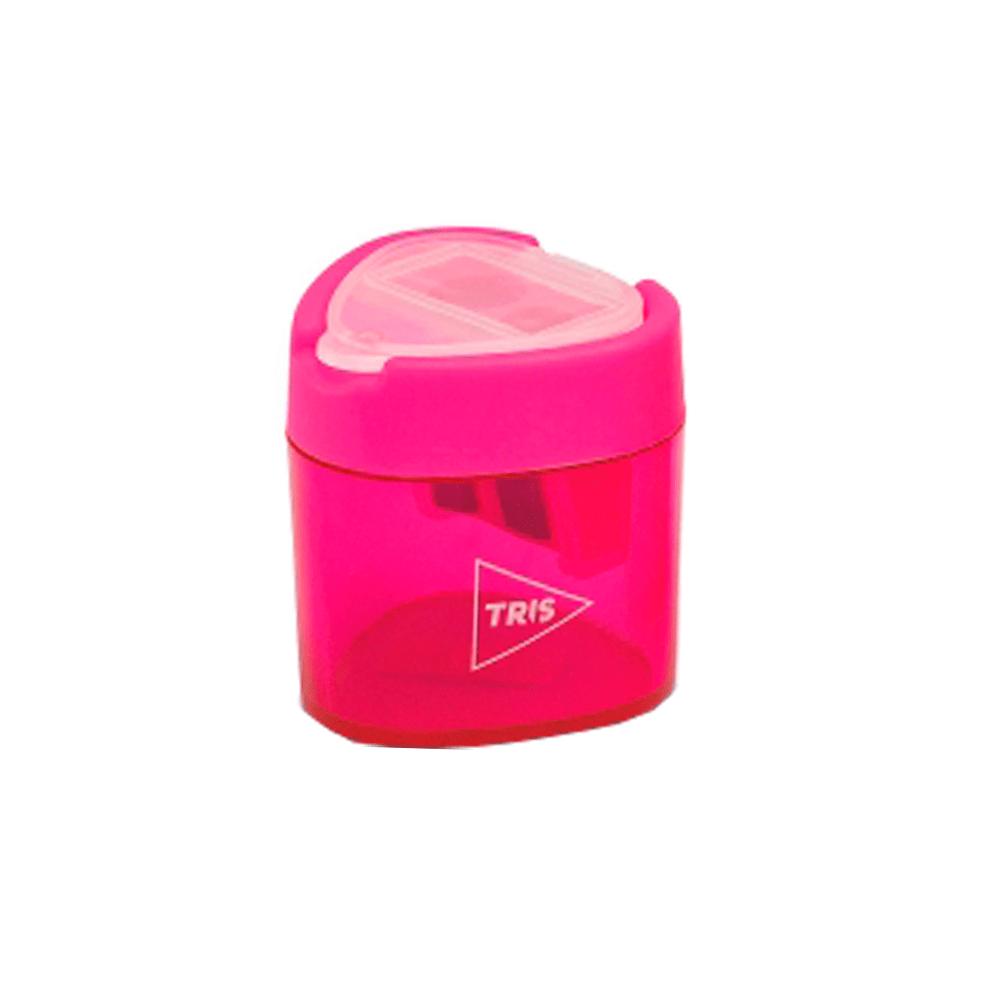 Apontador-com-Deposito-Duplo-Triangular-Rosa-Neon---Tris