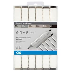 Marcador-Artistico-Graf-Duo-6-Tons-de-Cinza---Cis