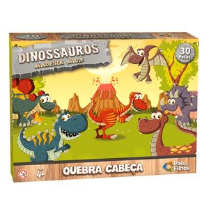 Quebra-Cabeca-30-Pecas-em-Madeira-Dinossauros---Pais---Filhos