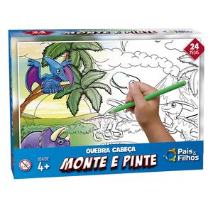 Quebra-Cabeco-24-Pecas-Monte-e-Pinte-Dinossauros---Pais---Filhos