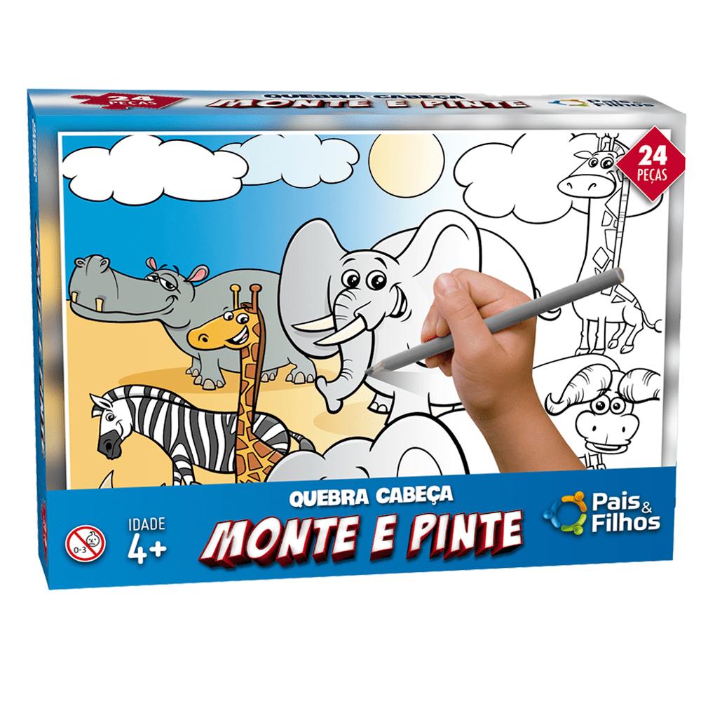 Quebra-Cabeco-24-Pecas-Monte-e-Pinte-Safari---Pais---Filhos