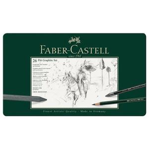 Conjunto-Lapis-Grafite-Pitt-Estojo-Metalico-com-26-pecas---Faber-Castell