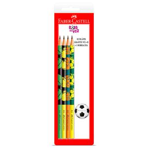 Kit-4-Ecolapis-Grafite---Borracha-Bola-de-Futebol---Faber-Castell