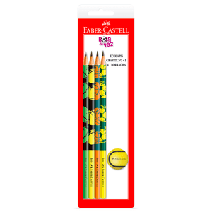 Kit-4-Ecolapis-Grafite---Borracha-Bola-de-Tenis---Faber-Castell
