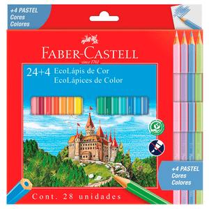 Ecolapis-de-Cor-Sextavado-24-Cores---4-Pasteis---Faber-Castell
