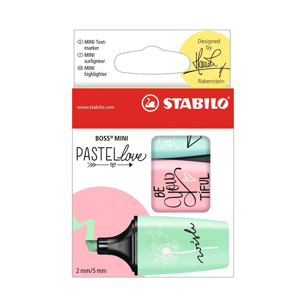 Estojo-de-Marca-Texto-Boss-Mini-Pastel-Love-Verde-Rosa-Azul---Stabilo